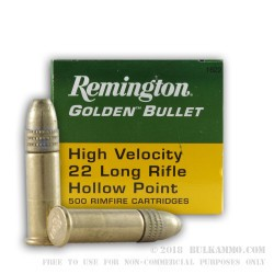 500 Rounds of .22 LR Ammo by Remington Golden Bullet - 36gr HP