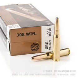 20 Rounds of .308 Win Ammo by Sellier & Bellot - 180gr XRG