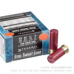 250 Rounds of 12ga Ammo by Federal - 1 1/8 ounce #7 Shot (Steel)