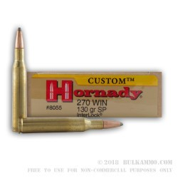 20 Rounds of .270 Win Ammo by Hornady Custom - 130gr SP