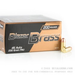 200 Rounds of .45 ACP Ammo by Blazer Brass - 230gr FMJ