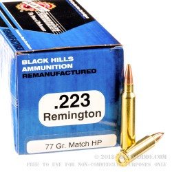 1000 Rounds of .223 Ammo by Black Hills re-manufactured Ammunition - 77gr Sierra MatchKing HP