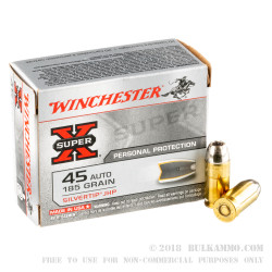 20 Rounds of .45 ACP Ammo by Winchester - 185gr JHP