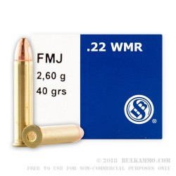 500 Rounds of .22 WMR Ammo by Sellier & Bellot - 40gr FMJ