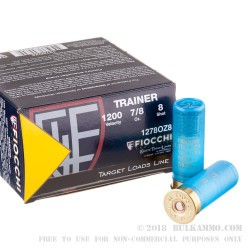 25 Rounds of 12ga Low Recoil Trainer Target Ammo by Fiocchi - 7/8 ounce #8 shot