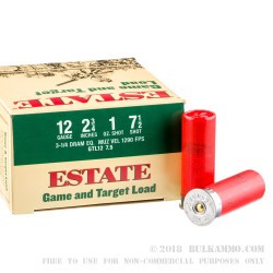 250 Rounds of 12ga Ammo by Estate Cartridge - 1 ounce #7 1/2 shot