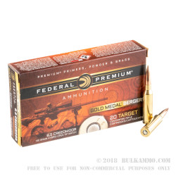 20 Rounds of 6.5 mm Creedmoor Ammo by Federal - 130gr Berger Hybrid OTM
