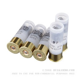 5 Rounds of 12ga Low Recoil Ammo by Rio Royal Buck  -  00 Buck