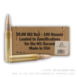 100 Rounds of 30-06 Springfield Ammo by BVAC - 150gr FMJ - M1 Garand