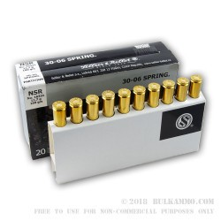 20 Rounds of 30-06 Springfield Ammo by Sellier & Bellot - 180gr Nosler Partition