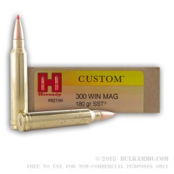 20 Rounds of .300 Win Mag Ammo by Hornady - 180gr SST