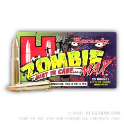 20 Rounds of 30-30 Win Ammo by Hornady - 160gr Zombie Z-Max