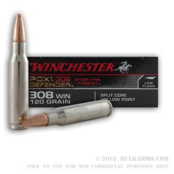20 Rounds of .308 Win Ammo by Winchester Supreme PDX1 - 120gr JHP