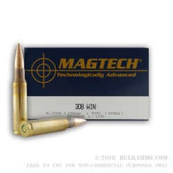 50 Rounds of .308 Win Ammo by Magtech - 150gr FMJBT