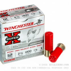 25 Rounds of 12ga Ammo by Winchester Super-X XPERT -  #3 Steel Shot