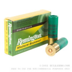 """5 Rounds of 12ga 3"""" Ammo by Remington Express -  #4 Buck"""
