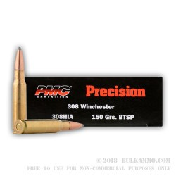20 Rounds of .308 Win Ammo by PMC - 150gr SPBT Interlock