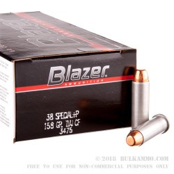 1000 Rounds of .38 Spl +P Ammo by CCI Blazer Cleanfire - 158gr TMJ