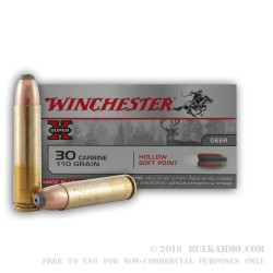 50 Rounds of .30 Carbine Ammo by Winchester Super-X - 110gr HSP