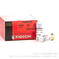 25 Rounds of 12ga Ammo by Fiocchi - 7/8 ounce #8 shot