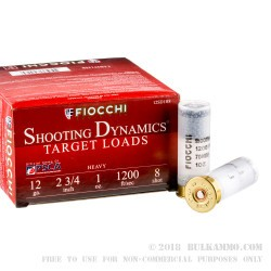 25 Rounds of 12ga Ammo by Fiocchi - 1 ounce #8 shot