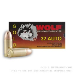 50 Rounds of .32 ACP Ammo by Wolf Gold - 71gr FMJ
