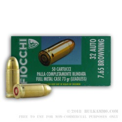 50 Rounds of .32 ACP Ammo by Fiocchi Leadless - 73gr FMJ