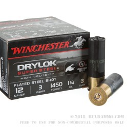 25 Rounds of 12ga Ammo by Winchester Drylok Super Steel High Velocity - 1 1/4 ounce #3 Shot