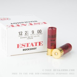 250 Rounds of 12ga Ammo by Estate Cartridge - 00 Buck