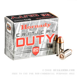 200 Rounds of .45 ACP +P Ammo by Hornady Critcal Duty - 220gr JHP