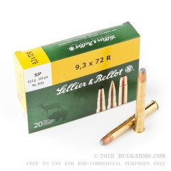 20 Rounds of 9.3x72mm Rimmed Ammo by Sellier & Bellot - 193gr SP