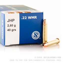 50 Rounds of .22 WMR Ammo by Sellier & Bellot - 40gr JHP