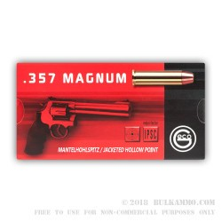 50 Rounds of .357 Mag Ammo by GECO - 158gr JHP