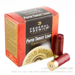 "25 Rounds of 12ga Ammo by Federal Gold Medal Paper - 2-3/4"" 1 1/8 ounce #7 1/2 shot"