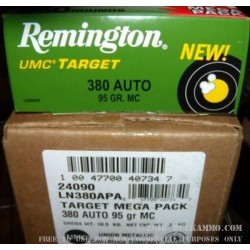 250 Rounds of .380 ACP Nickel Plated Ammo by Remington - 95gr MC