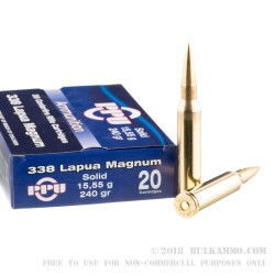 20 Rounds of .338 Lapua Ammo by Prvi Partizan - 240gr FMJBT
