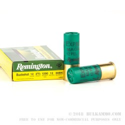 5 Rounds of 12ga Ammo by Remington -  00 Buck