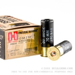 "10 Rounds of 12ga Ammo by Hornady Critical Defense - 2-3/4"" 00 Buck"