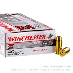 500  Rounds of .40 S&W Ammo by Winchester - 165gr BEB