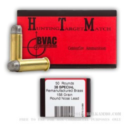 50 Rounds of .38 Spl Ammo by BVAC - 158gr LRN