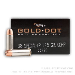 50 Rounds of .38 Spl Ammo by Speer - 125gr JHP