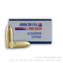 50 Rounds of .38 Super Ammo by Armscor - 124gr FMJ