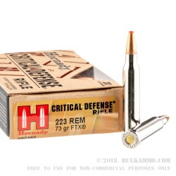 20 Rounds of .223 Ammo by Hornady Critical Defense - 73gr Polymer Tipped FTX