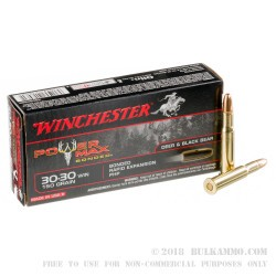 20 Rounds of 30-30 Win Ammo by Winchester Power Max Bonded - 150gr PHP