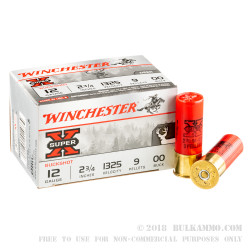 """15 Rounds of 12ga 2-3/4"""" Ammo by Winchester -  00 Buck"""