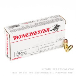 500 Rounds of .40 S&W Ammo by Winchester - 180gr FMJ