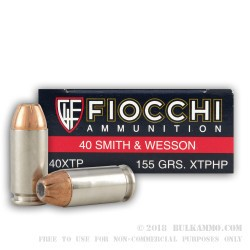 50 Rounds of .40 S&W Ammo by Fiocchi - 155gr JHP