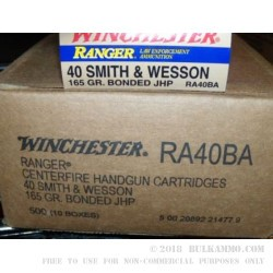 500  Rounds of .40 S&W Ammo by Winchester Ranger - 165gr JHP