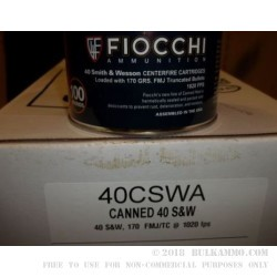 1000 Rounds of .40 S&W Canned Heat Ammo by Fiocchi - 170gr FMJ
