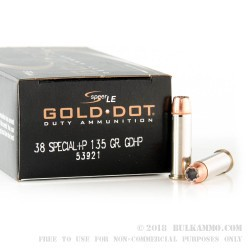 1000 Rounds of .38 Spl +P Ammo by Speer Gold Dot - 135gr JHP